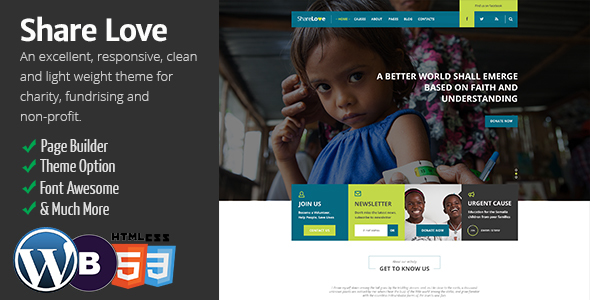 Charity ShareLove Non Profit WordPress Theme