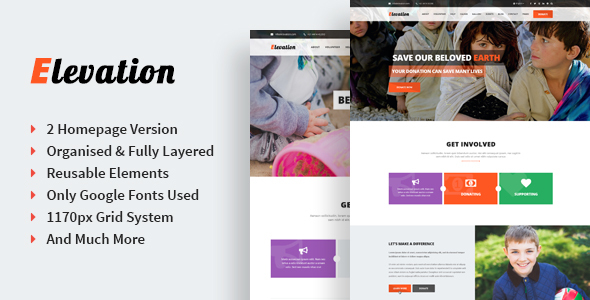 Elevation – Singe Page Nonprofit & Charity PSD Template