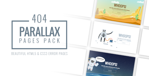 Parallax 404 Pages Pack