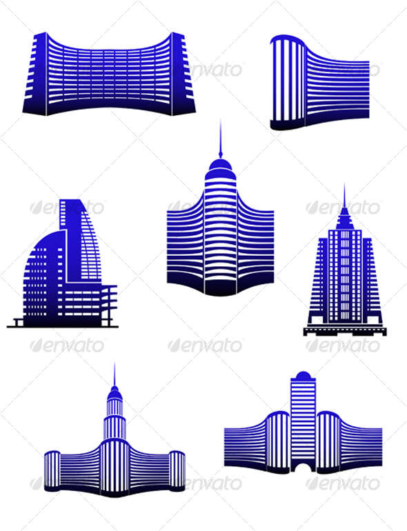Symbols of modern buildings - Buildings Objects