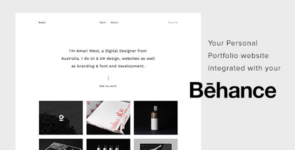 Amari – Behance Portfolio HTML Template