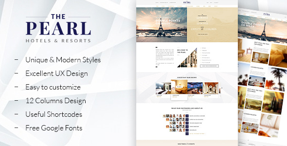 ThePearl - Hotels and Resorts WordPress theme - Travel Retail
