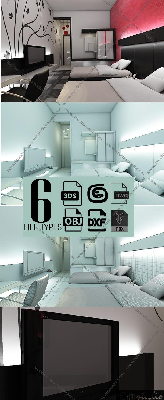 Realistic Modern bedroom 148 - 3DOcean Item for Sale