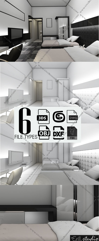 Realistic Modern bedroom 149 - 3DOcean Item for Sale