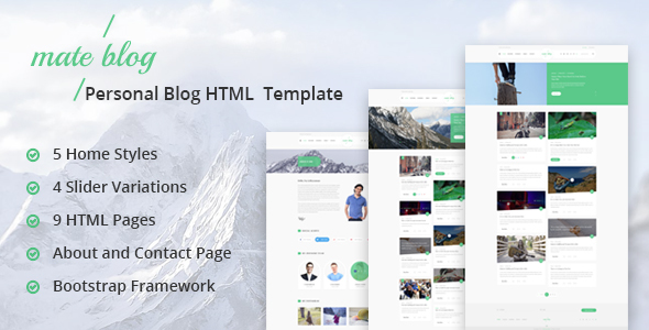 Mate Blog - Responsive Personal Blog Template - Personal Site Templates