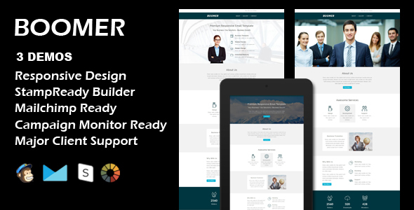 BOOMER – Multipurpose Responsive Email Template + Stamp Ready Builder