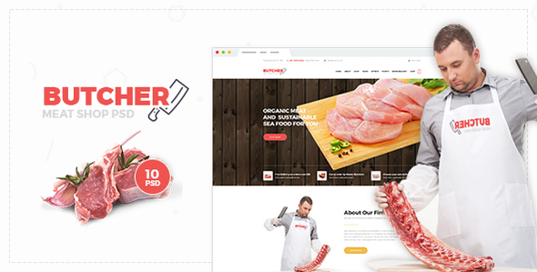 Butcher - Meat Shop PSD Template - Food Retail
