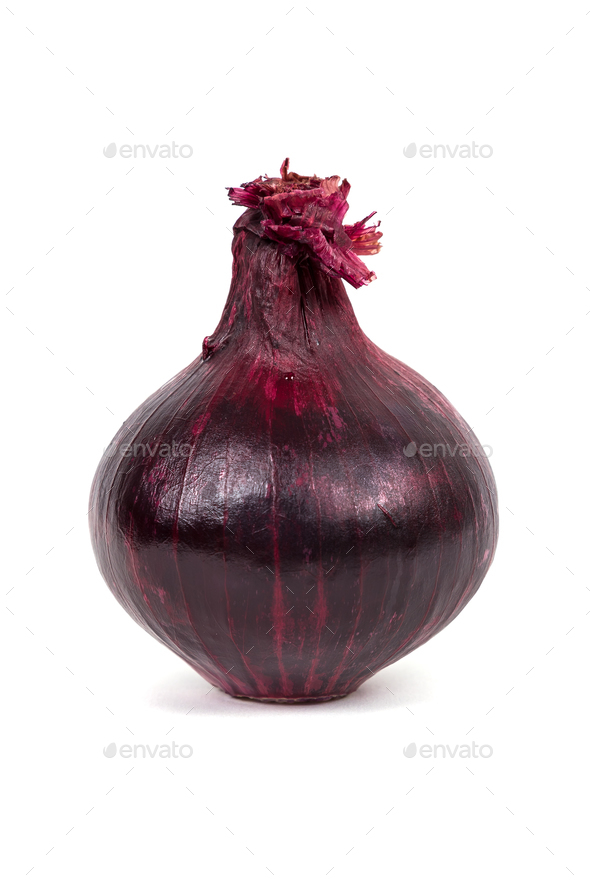 Red onion isolated on white background - Stock Photo - Images