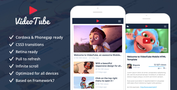 VideoTube – Responsive Mobile Template