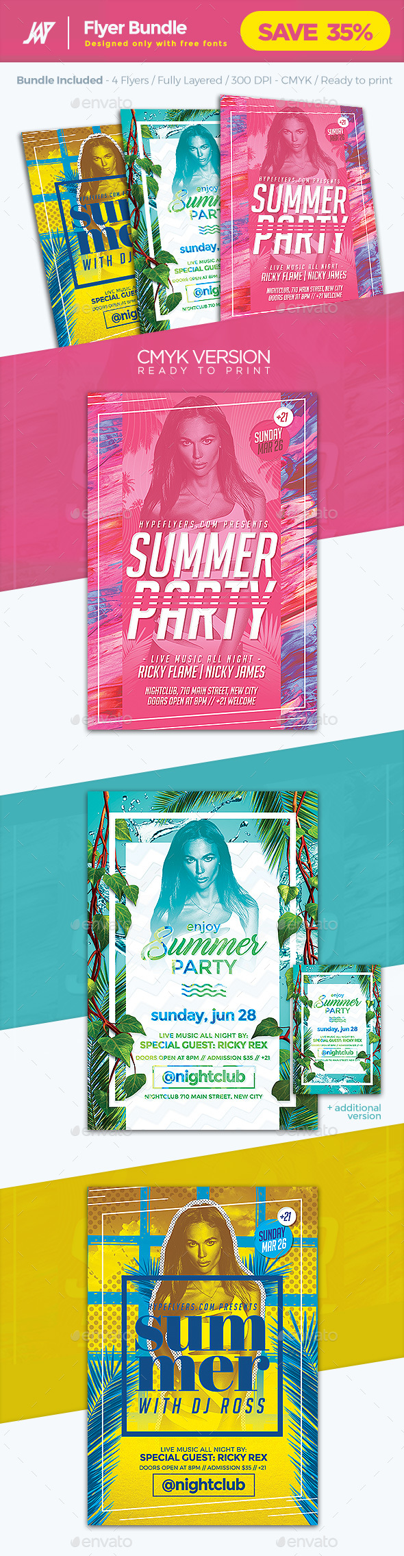 Summer flyer template bundle by 1jaykey graphicriver summer flyer template bundle clubs parties events saigontimesfo