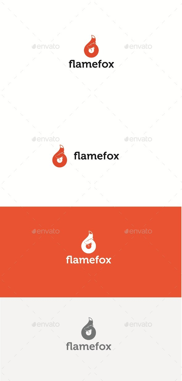 Flame Fox - Animals Logo Templates