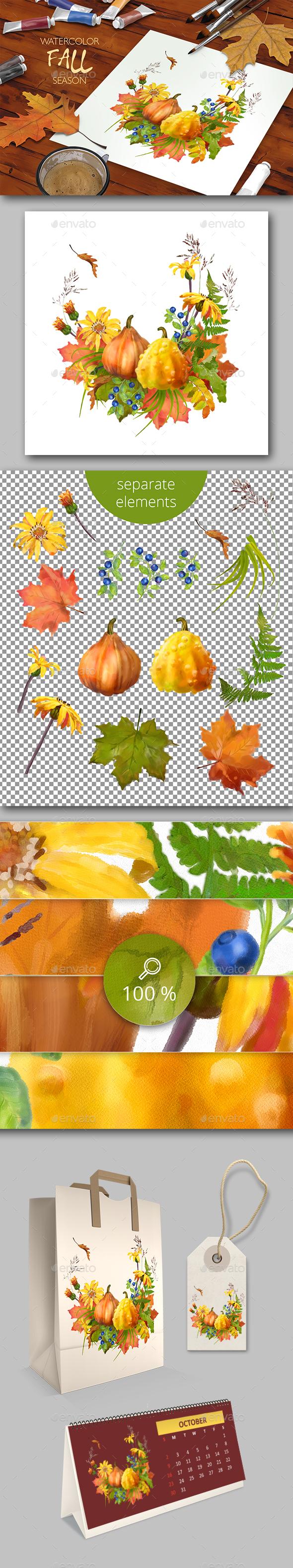 Watercolor Thanksgiving - Scenes Illustrations