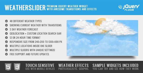 WeatherSlider Premium jQuery Weather Widget - CodeCanyon Item for Sale