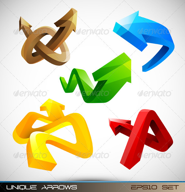 Set of Shiny 3D Arrows - Web Elements Vectors