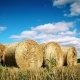 Stubble Field With Straw Bales Under Cloudy Sky. - VideoHive Item for Sale