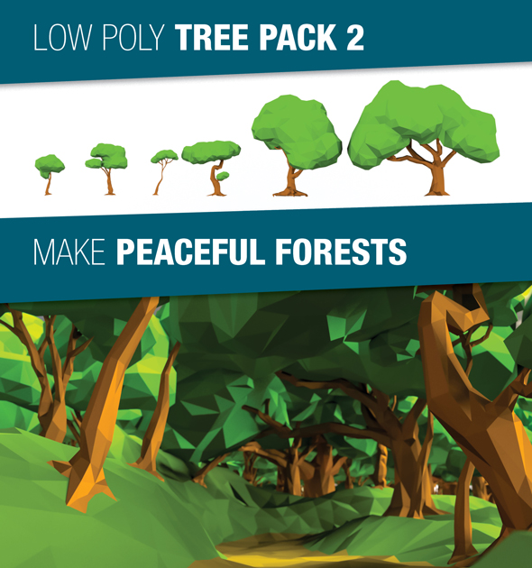 Low Poly Tree Pack 2 - 3DOcean Item for Sale