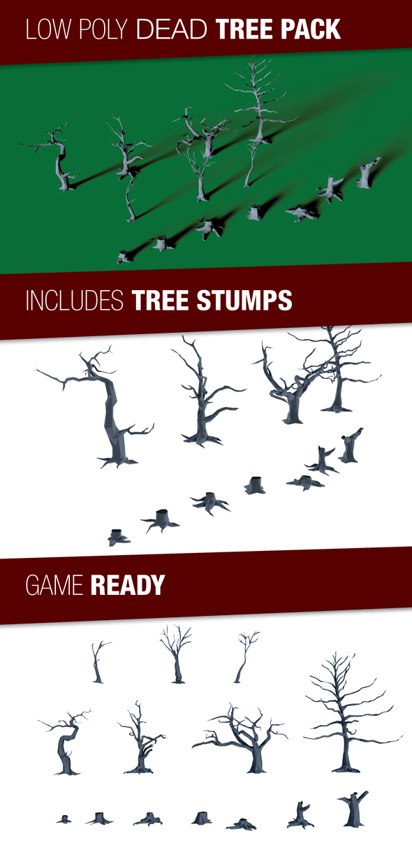 Dead Tree and Tree Stump Pack - 3DOcean Item for Sale