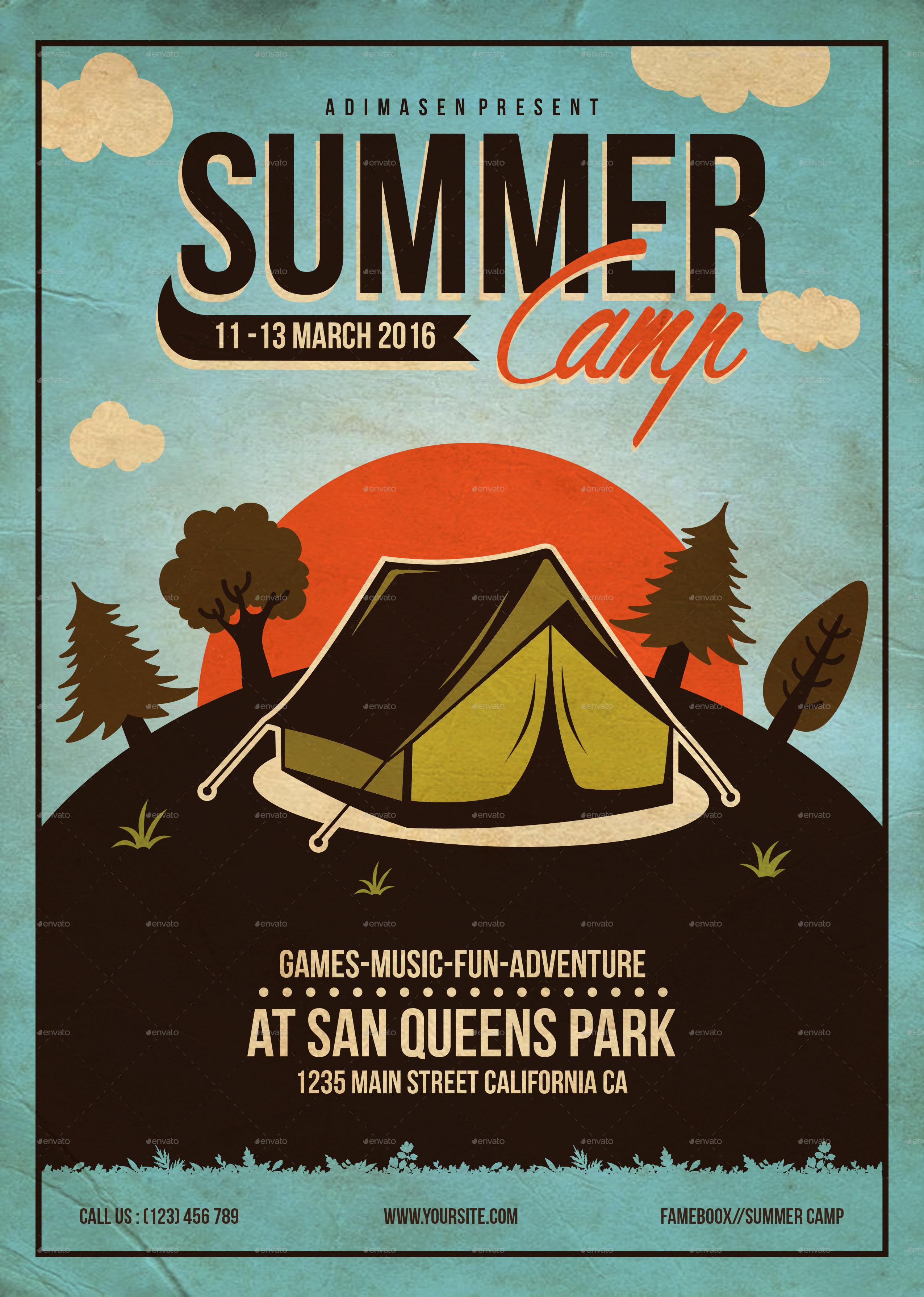 summer camp flyer template by adimasen