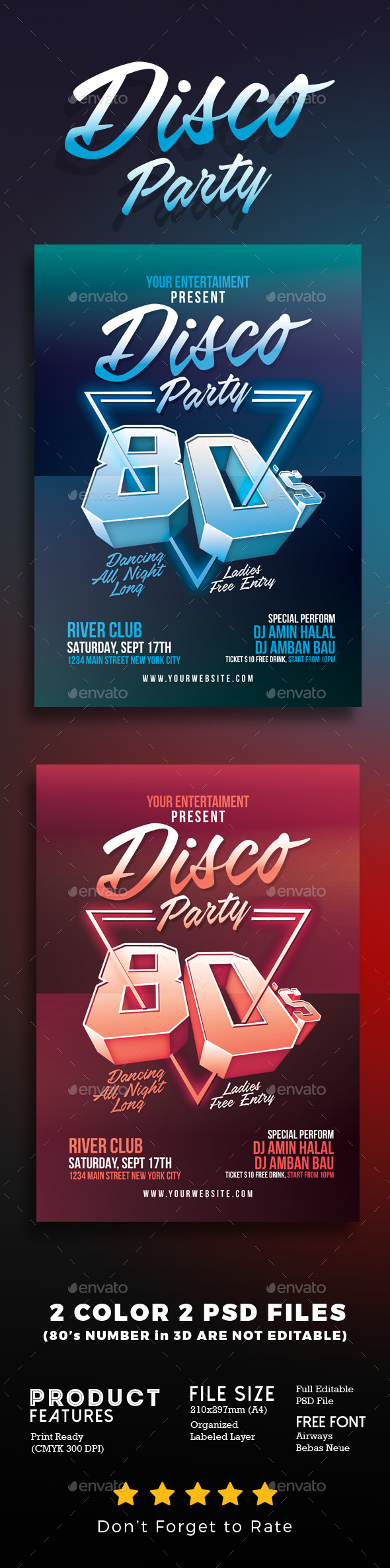 80's Disco Party - Events Flyers