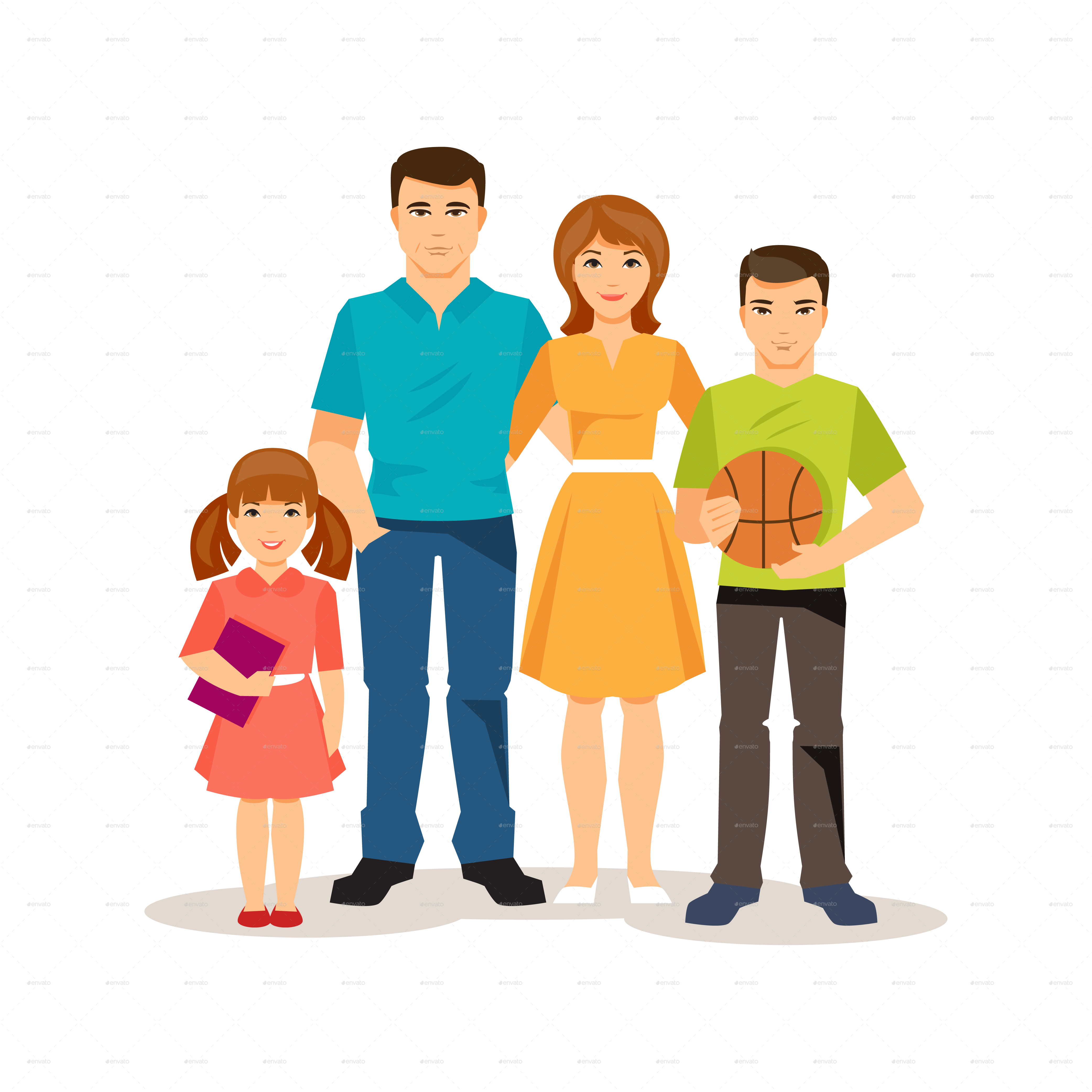 cartoon family on the white background by artbesouro graphicriver
