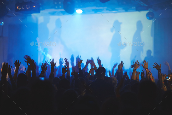 Hands in Air at Concert - Stock Photo - Images