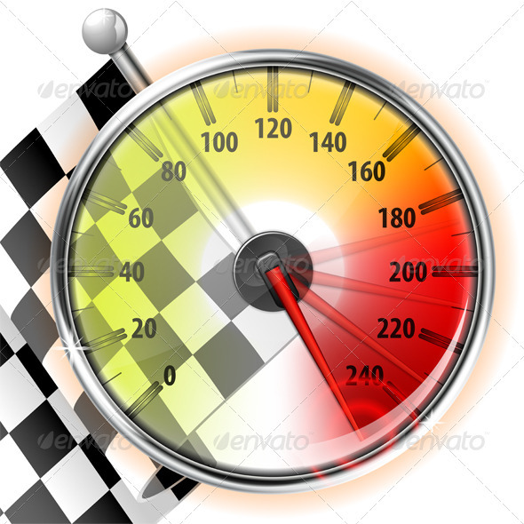 Speedometer with Flag - Sports/Activity Conceptual