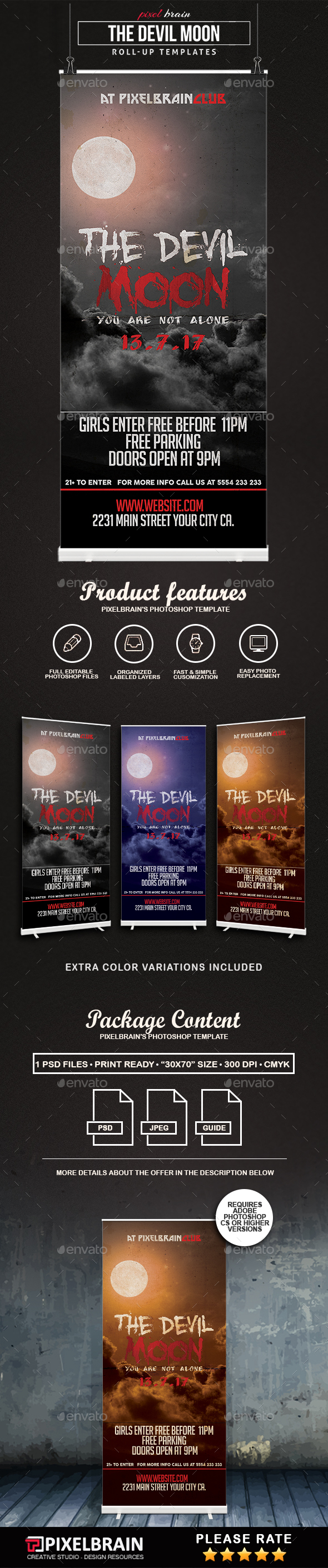 The Devil Moon Roll-Up Templates Vol. 2 - Signage Print Templates