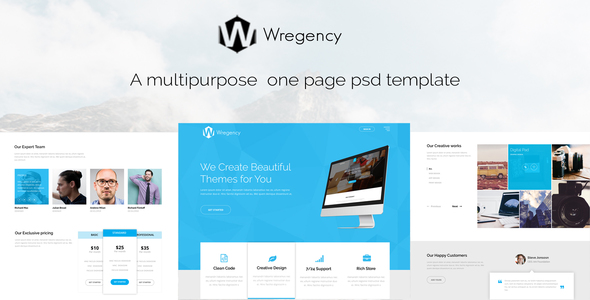 Wregency Multipurpose One Page Psd Template - Business Corporate