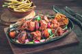 Grilled pork skewers rustic