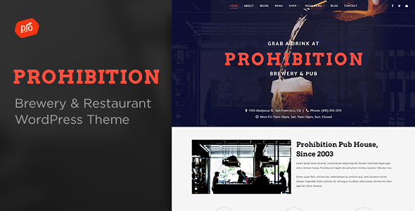 Prohibition – Brewery & Restaurant Theme