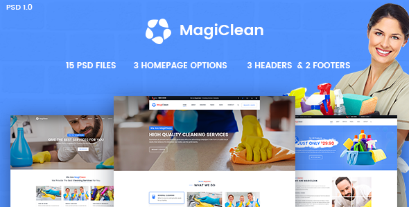 MagiClean – Cleaning Services Business PSD Template