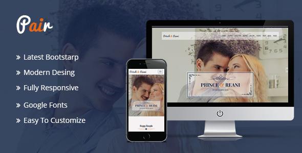 Pair Responsive HTML5 Wedding Template