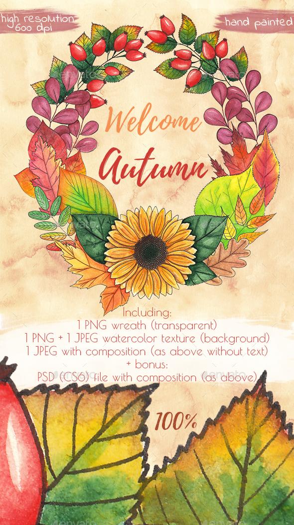 Autumn Wreath - Illustrations Graphics