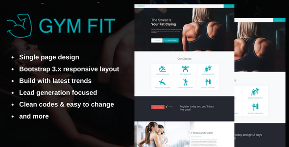 GYM FIT - Fitness Landing Page - Landing Pages Marketing