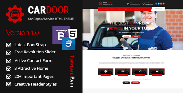 Car Door - Auto Mechanic & Car Repair Template - Business Corporate