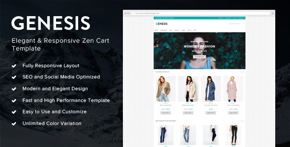 Genesis elegant and responsive zen cart template by for Free responsive zen cart templates