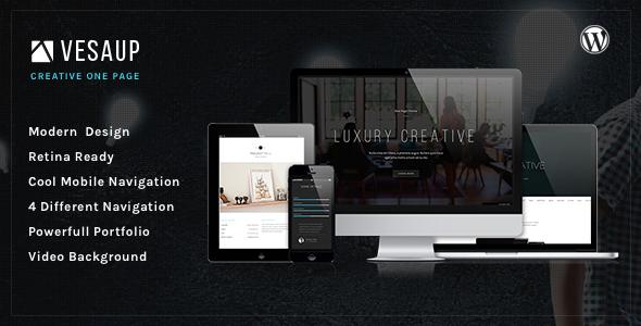 VesaUP Parallax One Page WordPress Theme - Portfolio Creative