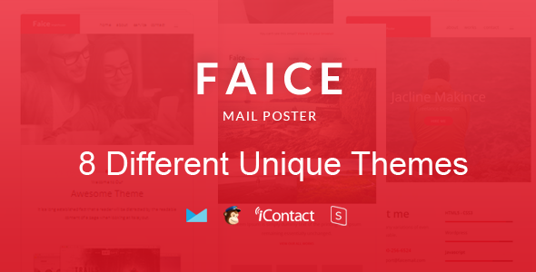Faice Mail- 8 Unique Responsive Email set + Online Access  - Email Templates Marketing