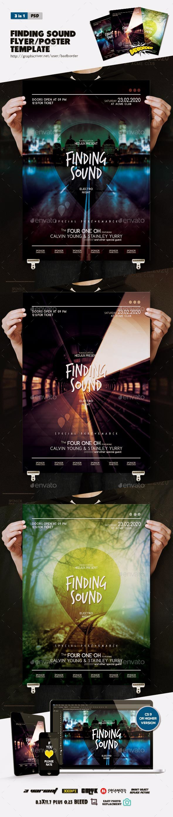 Finding Sound Flyer/Poster - Clubs & Parties Events
