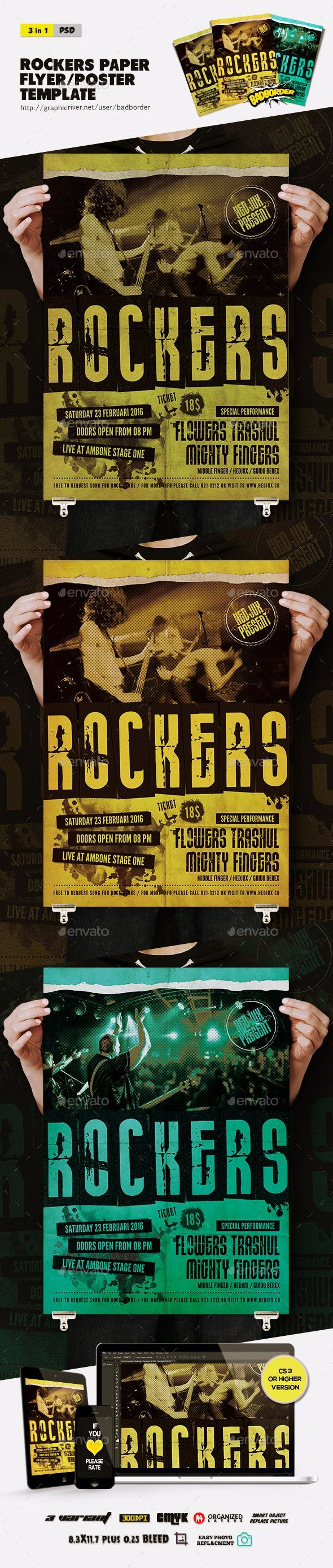 Rockers Paper Flyer/Poster - Concerts Events