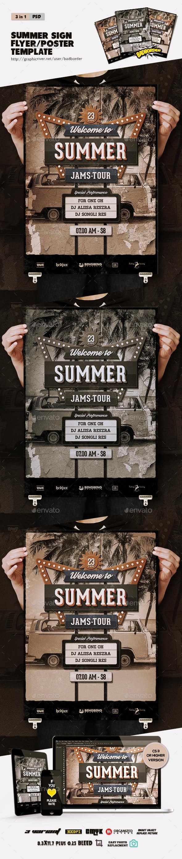 Summer Tour Flyer/Poster - Clubs & Parties Events