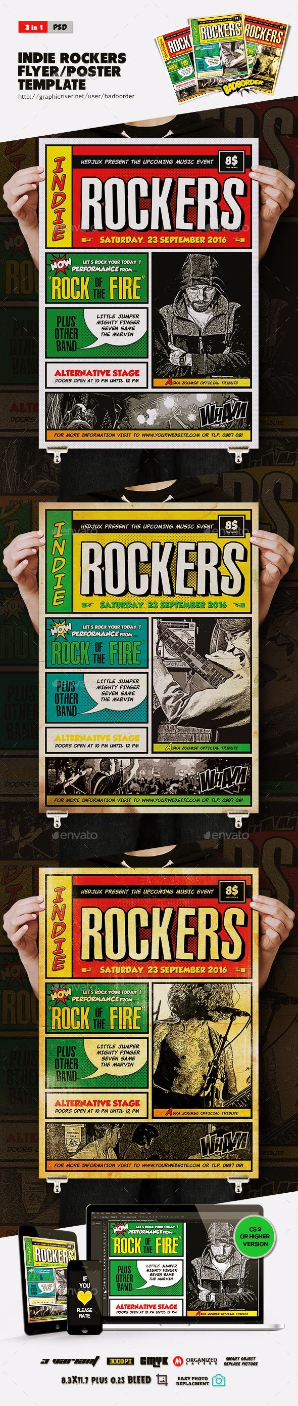 Indie Rockers Comic Flyer/Poster - Concerts Events