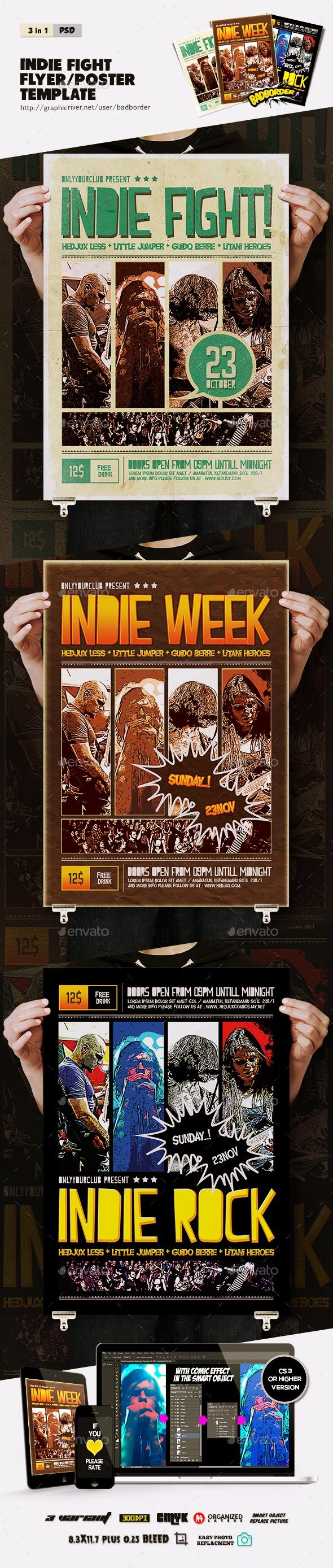 Indie Fight Comic Flyer/Poster  - Concerts Events