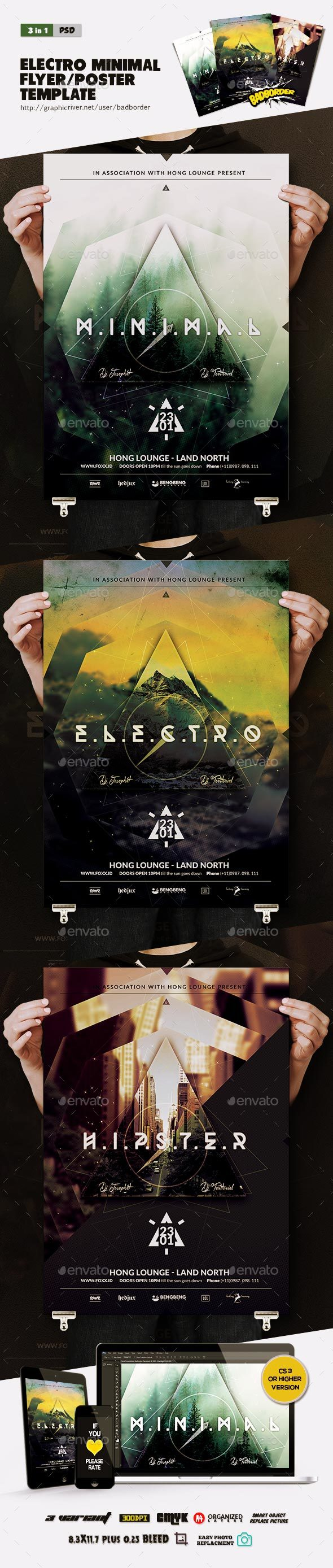 Electro Minimal Flyer/Poster - Clubs & Parties Events
