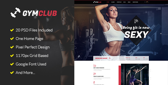 GymClub – Gym & Fitness PSD Template