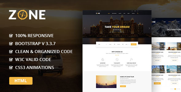 Zone – Tours and Travel HTML Template