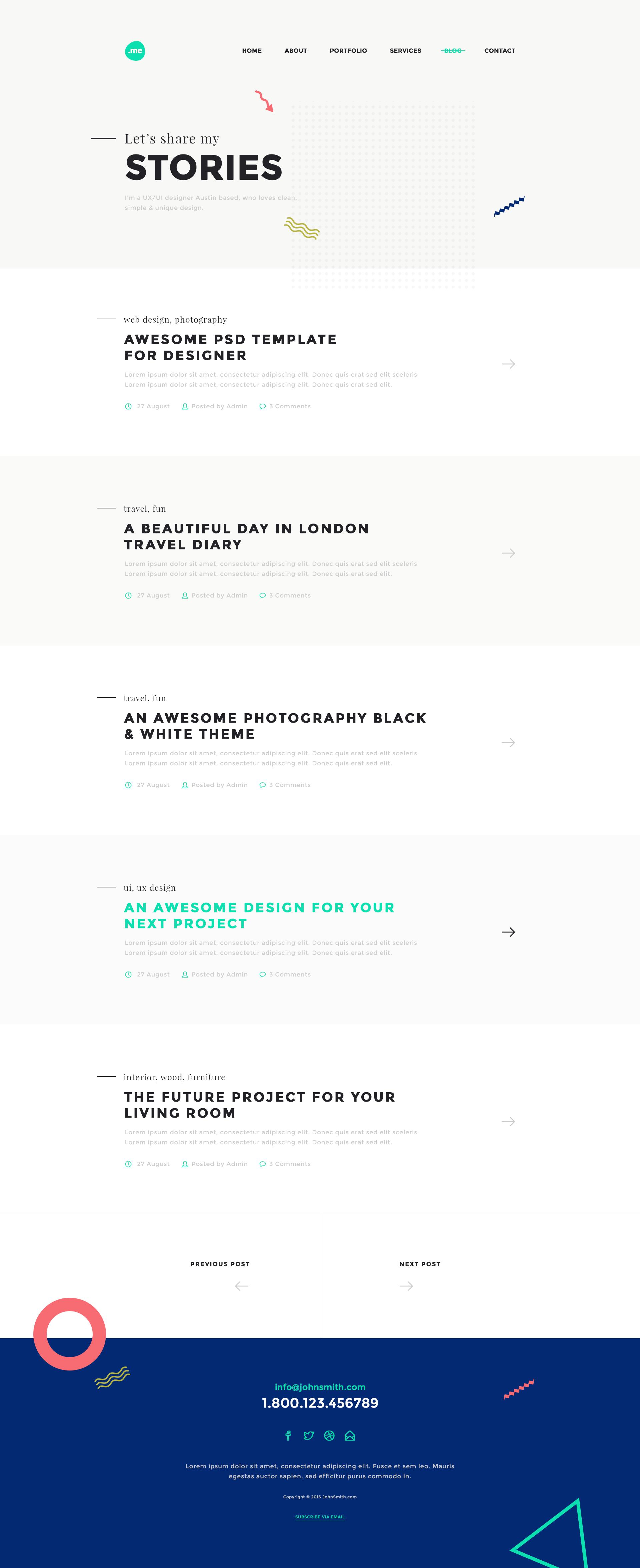 Me Creative Portfolio & Resume CV PSD Template by webduck