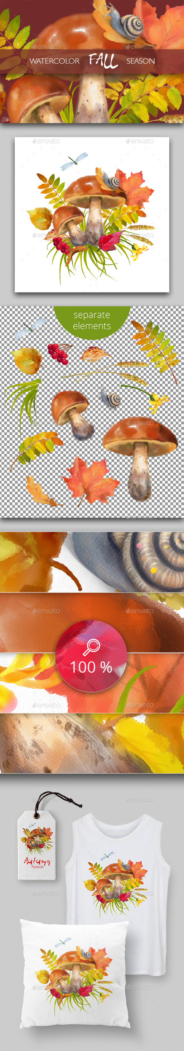 Watercolor Autumn - Scenes Illustrations