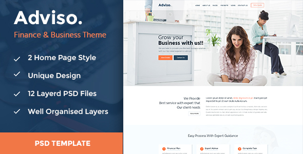 Adviso – Finance, Consulting, Business PSD Template!