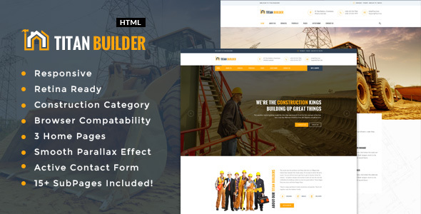 Titan Builders :  Construction, Architecture & Building Business HTML Template - Business Corporate